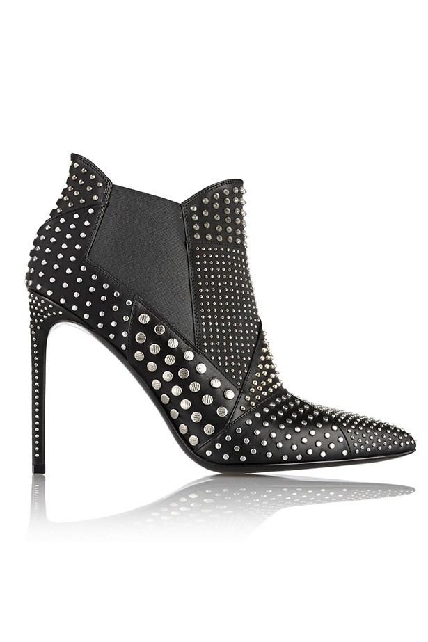 """Boots, $1758, Saint Laurent, <a href=""""http://www.net-a-porter.com/product/512400/Saint_Laurent/studded-leather-ankle-boots"""">net-a-porter.com</a>"""