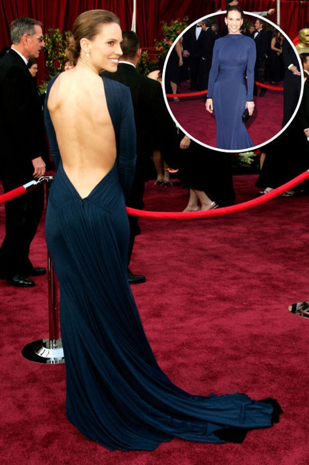 <p>HILARY SWANK</p> <p>In Guy Laroche at the 2005 Academy Awards</p>