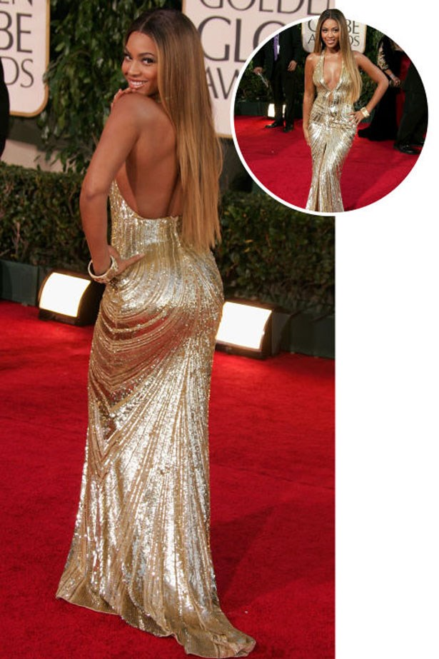 <p>BEYONCÉ</p> <p>In Atelier Versace at the 2005 Academy Awards</p>