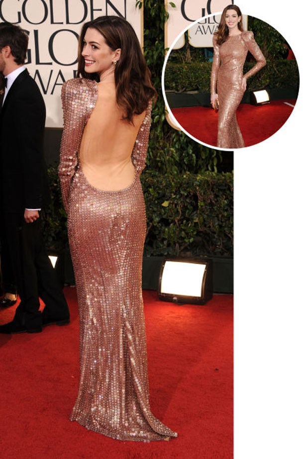 <p>ANNE HATHAWAY</p> <p>In Armani at the 2011 Golden Globes</p>