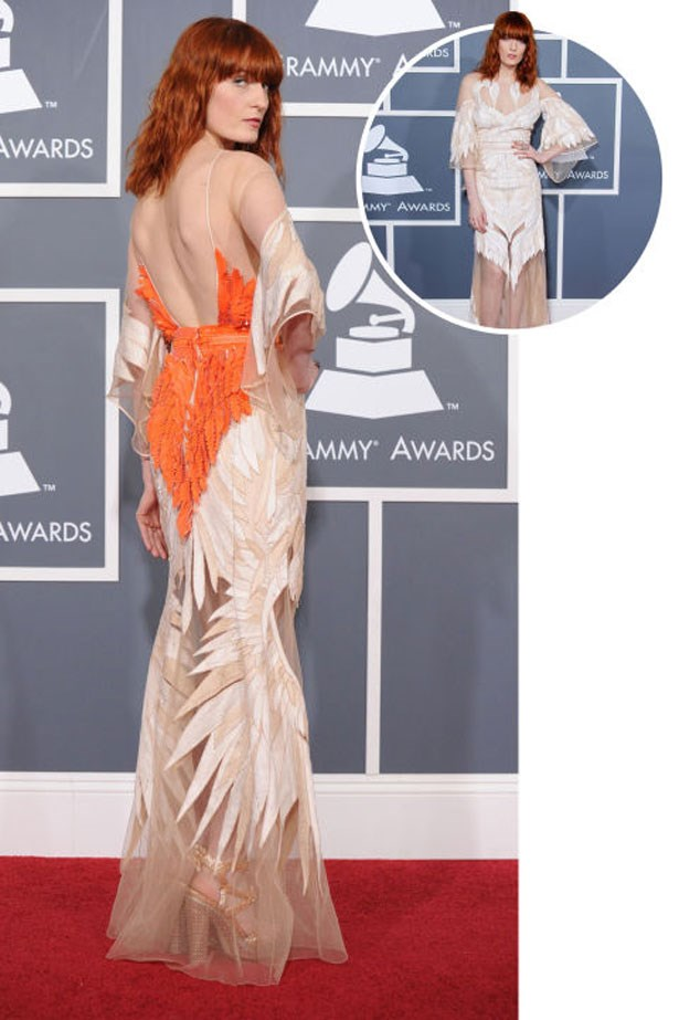 <p>FLORENCE WELCH</p> <p>In Givenchy Haute Couture at the 2011 Grammys</p>
