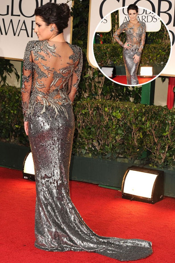 <p>LEA MICHELE</p> <p>In Marchesa at the 2012 Golden Globes</p>