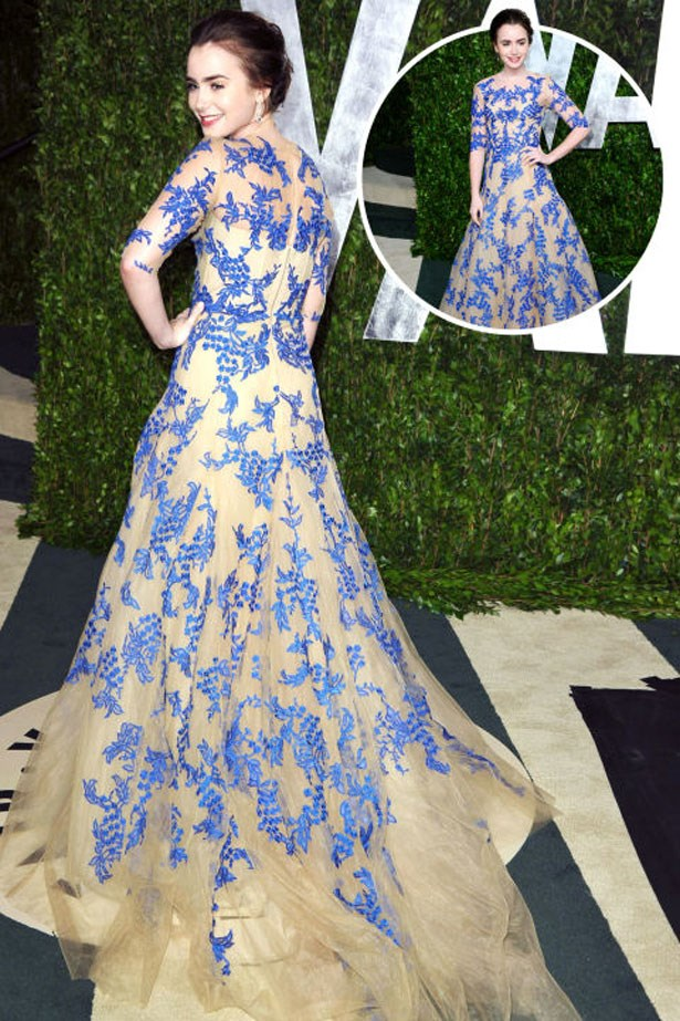 <p>LILY COLLINS</p> <p>In Monique Lhuillier at the 2012 Academy Awards</p>