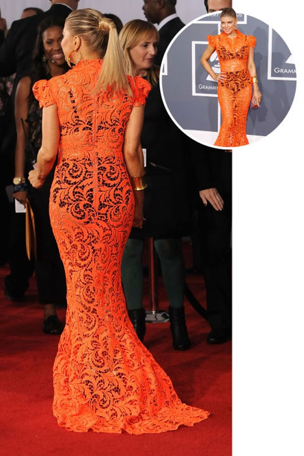 <p>FERGIE</p> <p>In Jean Paul Gaultier at the 2012 Grammys</p>