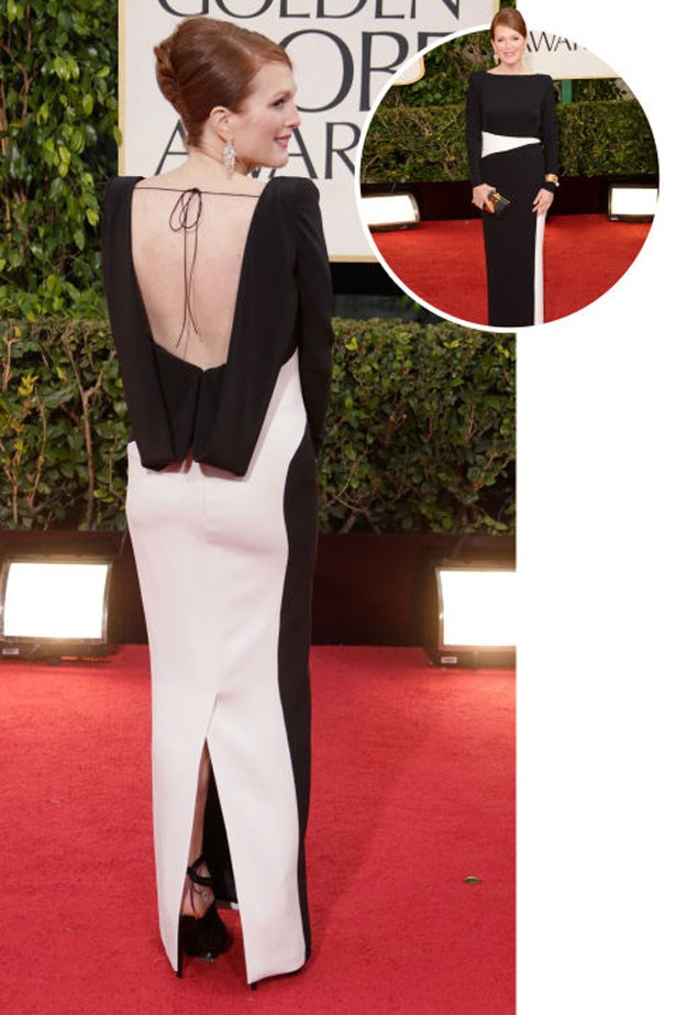 <p>JULIANNE MOORE</p> <p>In Tom Ford at the 2013 Golden Globes</p>