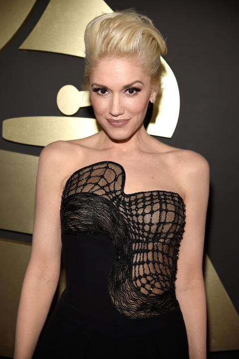 <strong>Gwen Stefani</strong><br> It's not too often we see Gwen Stefani sans her signature red lip, but she showed up on the Grammy red carpet looking gorgeous as ever with a more subtle nude pout and neutral makeup. She did however stick with her usual bleach blonde pompadour-esque hair.