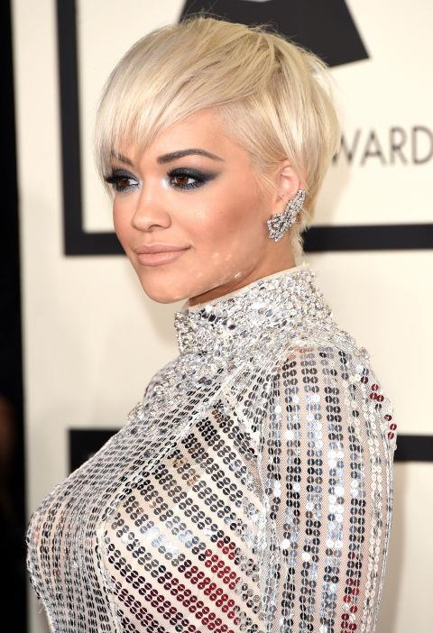 <strong>Rita Ora</strong><br> We're still obsessing over Rita Ora's new pixie—it's just the ideal cut to show off her dramatic smoky eyes and chiseled cheekbones.
