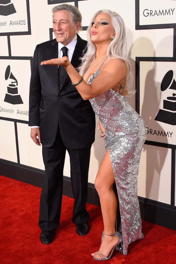 Lady Gaga and Tony Bennett. Gaga wears dress by Brandon Maxwell.