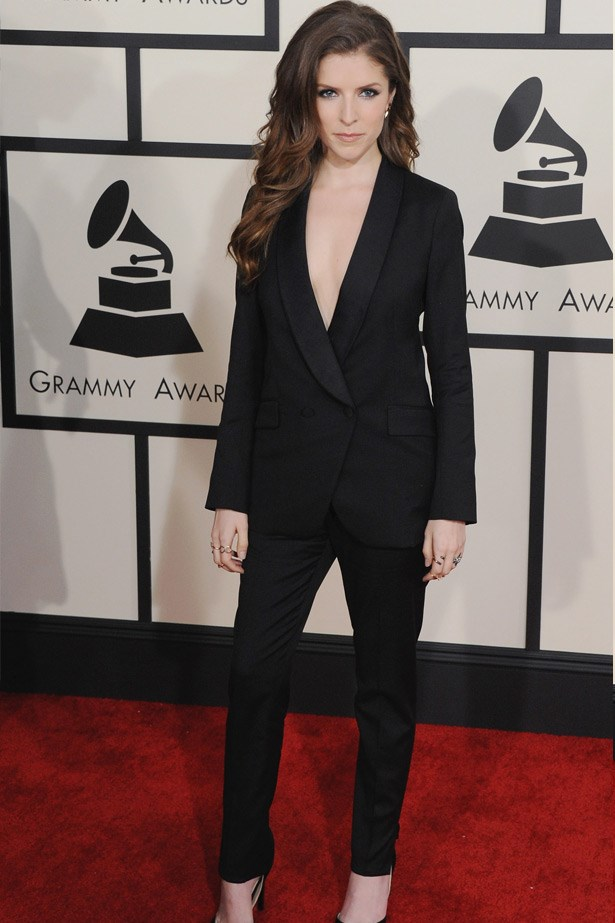 Anna Kendrick looking sharp in Band of Outsiders