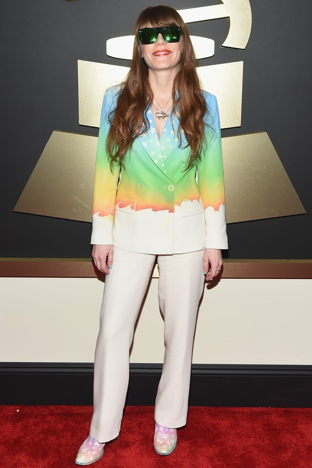 "Jenny Lewis rocks a My Little Pony Arty Tux, which is a collab between Adam Seagull and stylist Shirley Kurata - the same tux she wore in her now infamous video clip for <a href=""http://www.elle.com.au/news/celebrity-news/2014/7/watch-anne-hathaway-kristen-stewart-and-brie-larson-rock-out-in-drag/"">""Just One of The Guys""</a>"