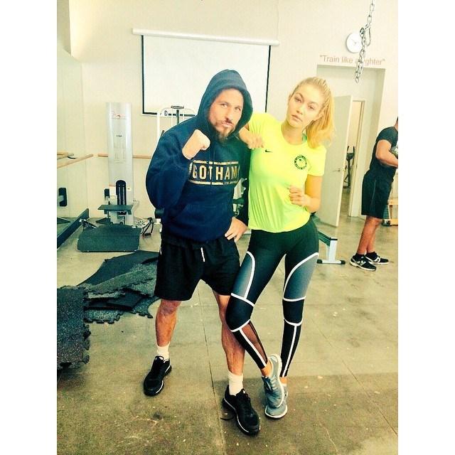 "<p><strong>Model:</strong> Gigi Hadid </p> <p><strong>Trainer:</strong> Rob Piela from <a href=""http://www.gothamgymnyc.com/"">Gotham Gym</a></p> <p><em><a href=""http://instagram.com/gigihadid/"">@gigihadid</a></em></p>"