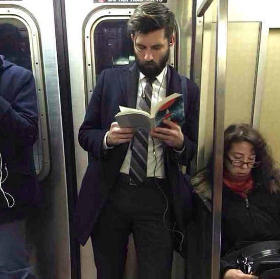 """Dapper Dude Alert! Damn. Whatever prose he's reading cannot match the beauty of that full beard. He's like the hot English professor of my dreams, only with way better hair. #voluntarydetention #hotdudesreading - this ones for @lancebass""  - @hotdudesreading"
