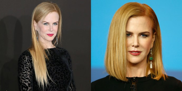 NICOLE KIDMAN<br> Nicole Kidman's ultra-long locks are no longer! The actress showed up at a press conference for her film Queen of the Desert in February sporting a much short, shoulder-grazing style that is so chic it has us contemplating doing a major chop (and switching up our part), too.