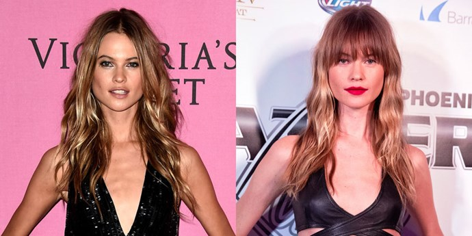 BEHATI PRINSLOO<br> Looks like the gorgeous Victoria's Secret model has traded in her requisite middle part, Angel waves for a look with a little more edge. Mrs. Adam Levine's new long fringe shows off her rock'n'roll side, especially paired with a red lip.