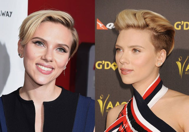 SCARLETT JOHANSSON<br> Is it just us, or is Scarlett Johansson totally channeling Miley Cyrus with her new 'do? The bombshell actress and new mom, who's been sporting a pixie since July, has steadily been going shorter and shorter. We love how this bold new undercut shows off her perfect bone structure. (It really is perfect, no?)