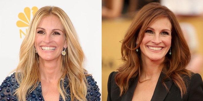JULIA ROBERTS<br> Last night, Julia Roberts treated us to a blast from her Pretty Woman past, and we loved it! The actress, who has been sporting blonde hair for some time now, showed up at the SAG Awards with deep red hair akin to her Vivian Ward character and the Julia we used to know.