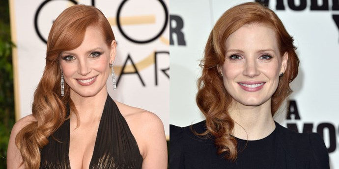 JESSICA CHASTAIN<br> Jessica Chastain just showed up at a photocall in London with freshly shorn locks. It may be a subtle difference (no bob, here), but we think anything the redhead does is note-worthy.