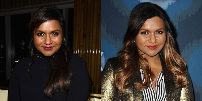 """MINDY KALING<br> Mindy Kaling has officially gone blonde! The star showed off her new honey streaks at Gox's Winter TCA All-Star Party on Saturday. The gorgeous look was inspired by Rihanna who """"has been rocking blonde hair on and off for a long time,"""" Kaling told E! Online."""