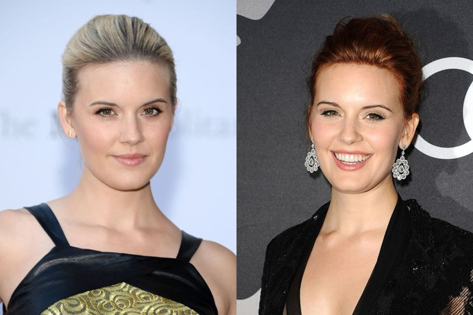 MAGGIE GRACE<br> We love it when anyone experiments with red hair, and more so, if they can pull it off like this. Maggie Grace went from blonde to crimson and wears it like a natural.