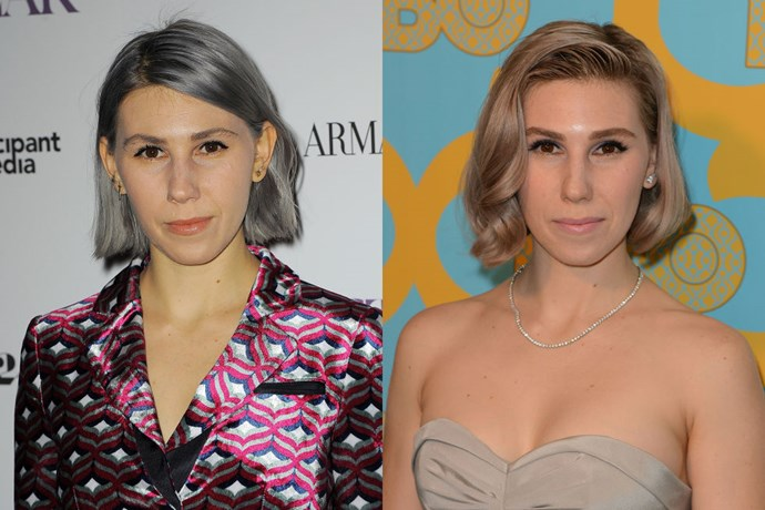 ZOSIA MAMET<br> 2014 was quite a time for Zosia Mamet's hair. She went from brunette to platinum to gray, and now as she embarks on the year ahead, the Girls star has settled on a lovely rose gold that we adore.