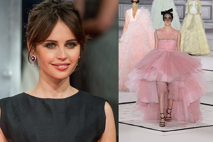 "Celebrity: Felicity Jones<br> Nominated for: Best Actress, <em>The Theory of Everything</em><br> What we predict she might wear: <a href=""http://www.elle.com.au/runway/haute-couture/ss15/2015/1/giambattista-valli-haute-couture-ss15/"">Giambattista Valli Haute Couture SS15</a> <br>"