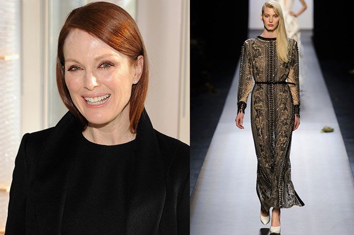 "Celebrity: Julianne Moore<br> Nominated for: Best Actress, <em>Still Alice</em><br> What we predict she might wear: <a href=""http://www.elle.com.au/runway/haute-couture/ss15/2015/1/jean-paul-gaultier-haute-couture-ss15/"">Jean Paul Gaultier Haute Couture SS15</a> <br>"