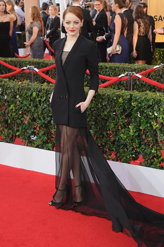 Emma Stone wearing Christian Dior Couture at the 2015 Screen Actors Guild awards.