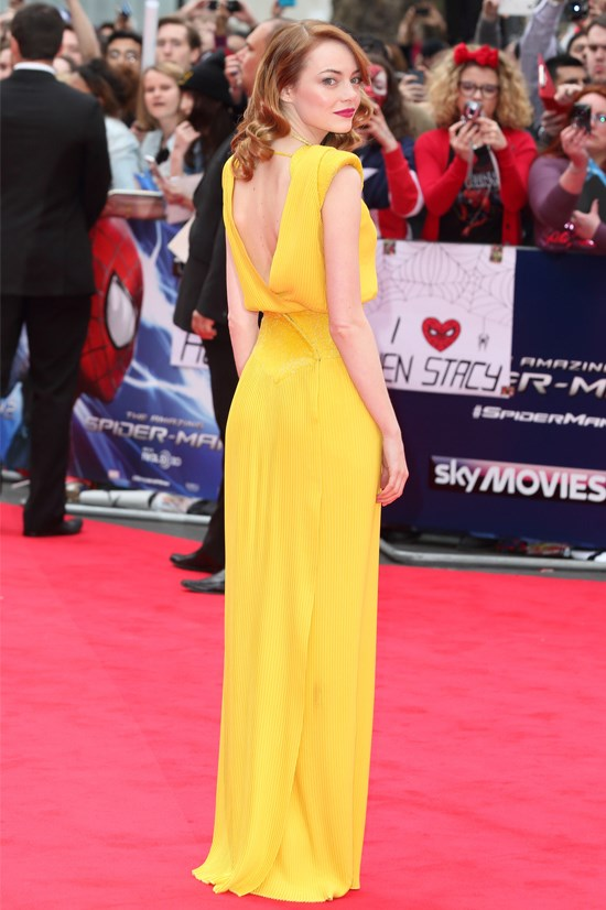 "Emma Stone wearing Atelier Versace at the UK Premiere of ""The Amazing Spider-Man 2""."