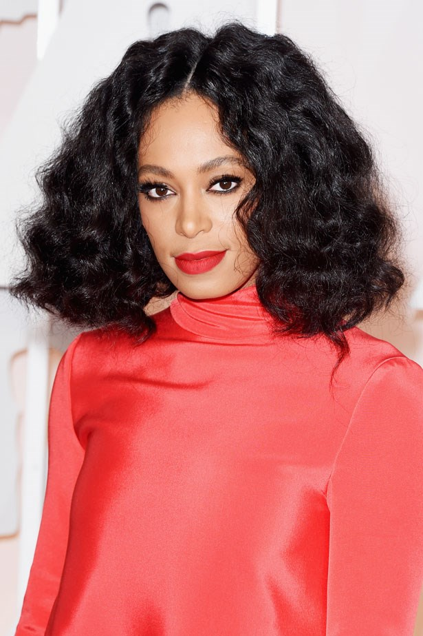<p><strong>The Red Lip</strong></p> Solange Knowles with a matte lipstick.