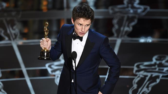 Eddie Redmayne accepting his Best Actor gong