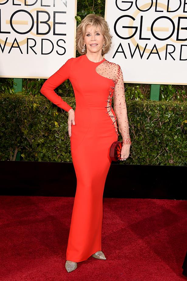 Versace: Jane Fonda at the 2015 Golden Globes
