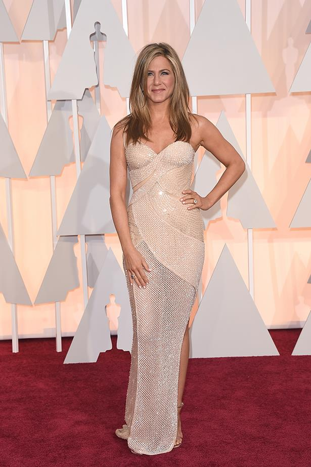 Versace: Jennifer Aniston at the 2015 Academy Awards