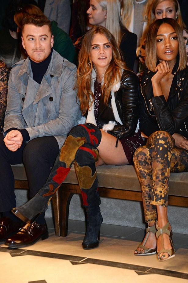 Sam Smith and Cara Delevingne Front Row at London Fashion Week