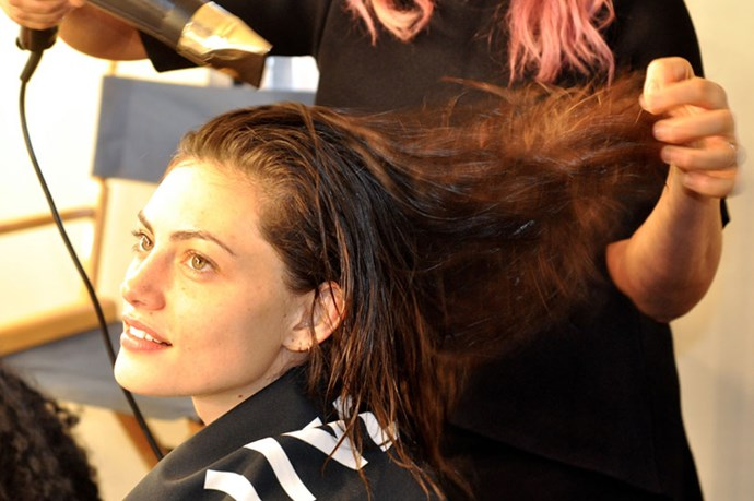 <p><strong>Step 2: </strong>Blow Dry the hair roughly, using your fingers to lift from the root, creating texture and volume. </p>