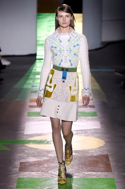 Peter Pilotto used the fabric in the embroidery of his coats, dresses and skirts