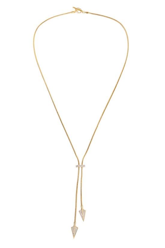 "Gold-tone cubic zirconia necklace, $62, Noir Jewellery, <a href=""http://www.theoutnet.com/en-AU/product/Noir-Jewelry/Gold-tone-cubic-zirconia-necklace/575283"">www.theoutnet.com</a>"
