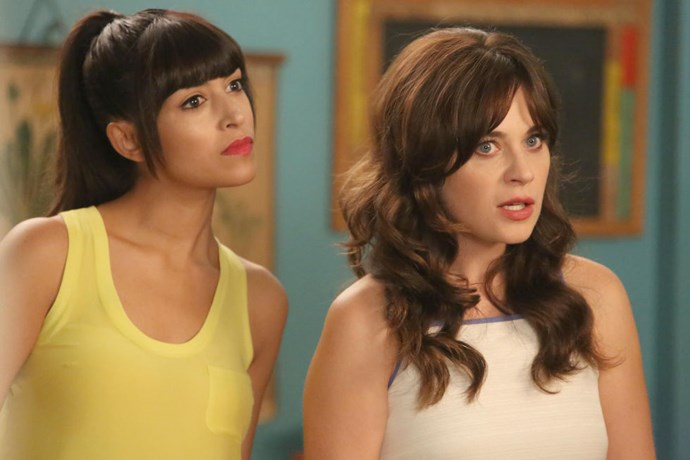 <strong>NEW GIRL (2011-PRESENT)</strong> Hannah Simone plays BFF opposite Zooey Deschanel as a bartender/model living in LA. The Canadian beauty steals the show with her deadpan humor and sexy blunt bangs that rival her costar's infamous fringe.