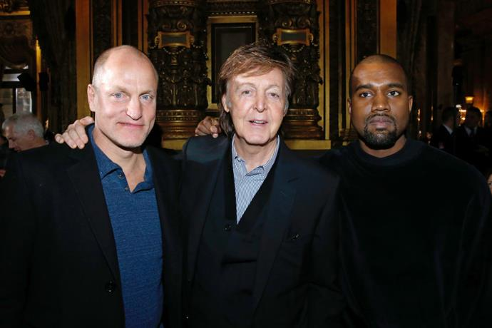 <strong>WOODY HARRELSON, PAUL MCCARTNEY, AND KANYE WEST</strong> At Stella McCartney.