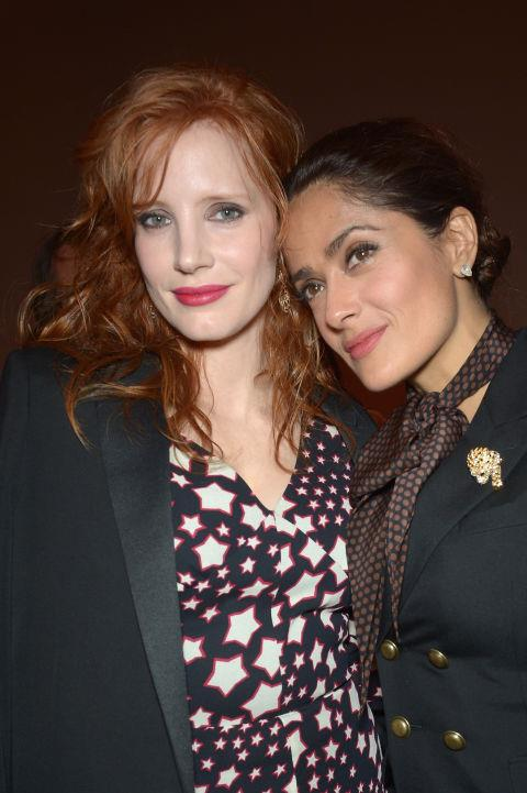 <strong>JESSICA CHASTAIN AND SALMA HAYEK</strong> At Saint Laurent.