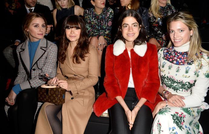 <strong>OLIVIA PALERMO, MIROSLAVA DUMA, LEANDRA MEDINE, AND HELENA BORDON</strong> At Valentino.