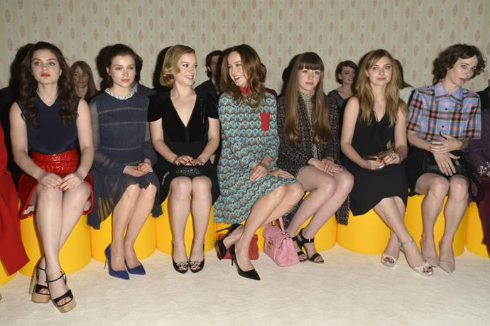 <strong>ODEYA RUSH, SOPHIE COOKSON, JANE LEVY, BRIE LARSON, MIA GOTH, IMOGEN POOTS, AND MIRANDA JULY</strong> At Miu Miu.