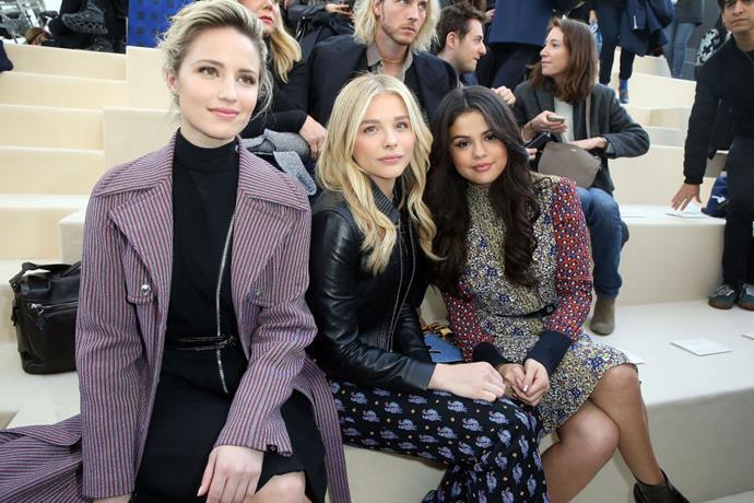 <strong>DIANNA AGRON, CHLOE MORETZ, AND SELENA GOMEZ</strong> At Louis Vuitton.