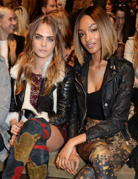 <strong>CARA DELEVINGNE AND JOURDAN DUNN</strong> At Burberry Prorsum.