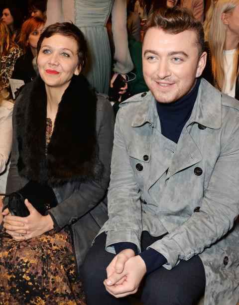 <strong>MAGGIE GYLLENHAAL AND SAM SMITH</strong> At Burberry Prorsum.