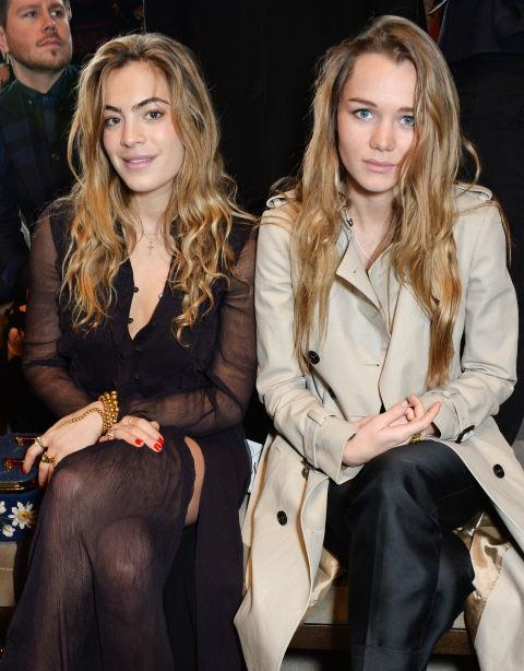<strong>CHELSEA LEYLAND AND IMMY WATERHOUSE</strong> At Burberry Prorsum.
