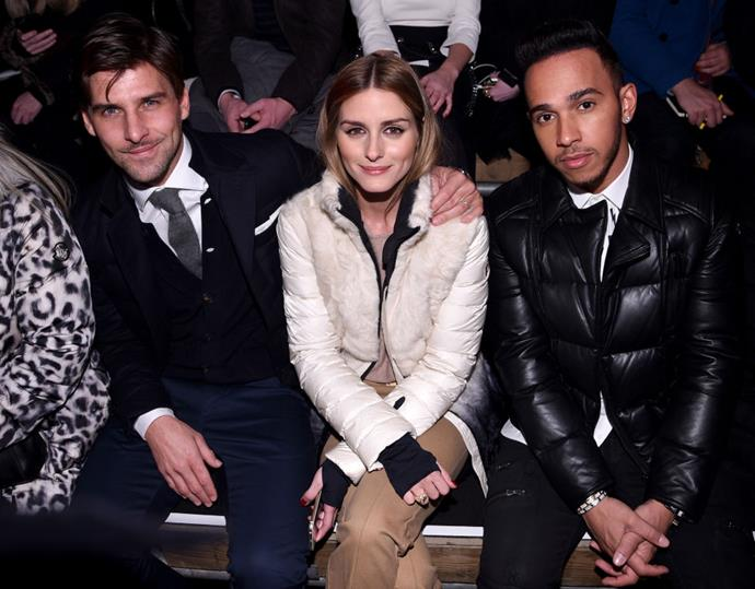 <strong>JOHANNES HUEBL, OLIVIA PALERMO AND LEWIS HAMILTON</strong> At Moncler Grenoble.