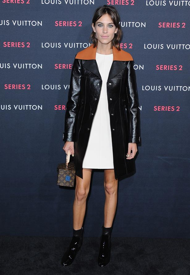 Alexa Chung wearing Louis Vuitton at the Louis Vuitton 'Series 2' Exhibition in LA