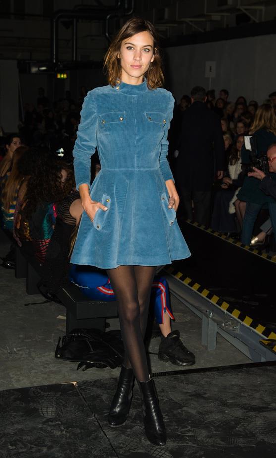 Alexa Chung at London Fashion Week wearing a J.W Anderson dress