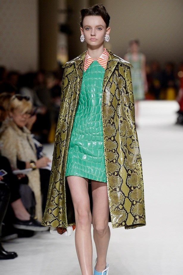 2. Nothing is as it seems. <br><br>At least when it comes to the animal effects shown on the Miu Miu runway. Was that real python in acid green? Is that a hyper yellow croc's hide or embossed leather mimicking the effect? Whatever the answer, it's clear violently clashed colour and texture is on the agenda. Mix like it's 1980.