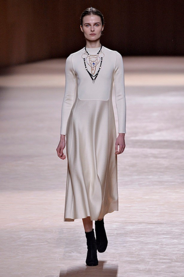 6. Quiet does not equal commonplace. <br><br>The restraint shown by the new creative director of Hermès, Nadège Vanhee-Cybulski, for her debut collection made us rethink clean lines, a understated palette and statement jewels.